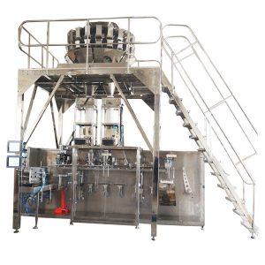 Horizontāla iepriekš sagatavota iesaiņošanas mašīna ar vairākiem gala svariem granulām
